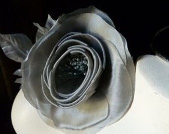 Silk Flower Camellia in Gray for Bridal, Headbands, Hats, Floral Supply MF100