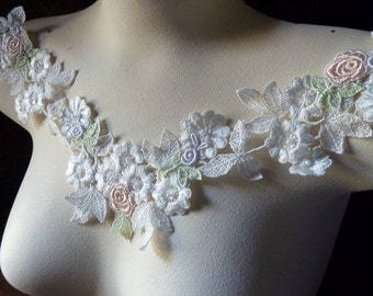 Ivory Cream, Peach, Lavender Lace Applique for Bridal, Garters, Lace Jewelry, Headbands IA 603