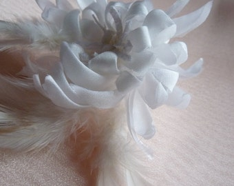 SALE WHITE Silk Flower Millinery Chrysanthemum for Bridal, Hats, Corsages MF 106