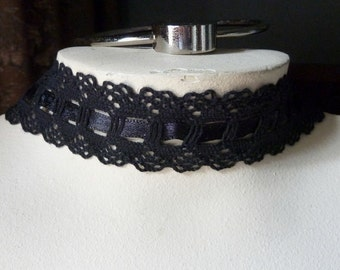 2 yds. BLACK Cluny Lace with Satin Ribbon Lacing for Headbands, Chokers, Jewelry or Costume Design L 8010