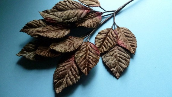Velvet Leaves in Chocolate and Rasberries for Hat, Jewelry or Costume Design, Floral or Millinery Supply ML 63