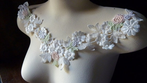 Lace Applique in Ivory Cream Venise Lace With Peach and Lavender for Bridal, Garters, Lace Jewelry, Headbands IA 603