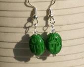Scarab Green Glass Earrings