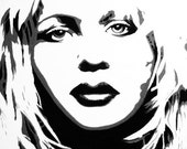 1 black white grey portrait painting of Hole singer Courtney Love 16 x 20