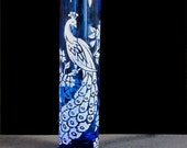 Peacock Wedding Bud Vase, Blue Etched Glass