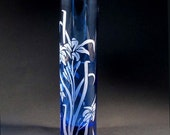 Blue Stargazer Lily Bud Vase, Etched Glass Gift