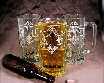 6 Huge One Liter Beer Steins, Personalized Gifts for Groomsmen, Stag Party Bachelor Party Gifts for Men