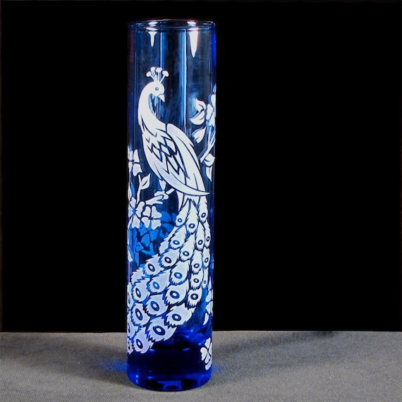 Peacock Wedding Bud Vase Blue Etched Glass Engraved Gift For