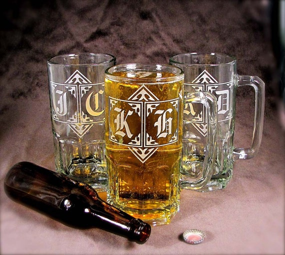 4 Beer Steins, Gigantic 1 Liter Groomsmen Gifts, Personalized Gifts for Men, Presents for Wedding Party