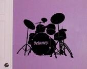 Drum Set, Personalized decal drummer monogram, bedroom sticker