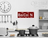 Bacon Periodic Table Elements Decal, geekery science sticker, kitchen wall art