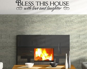 Bless This House with Love and Laughter, wall words decal, home family decor