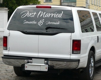 Just Married vehicle decal, personalized wedding decal, dance floor decal, getaway car decal, custom names, wedding gift