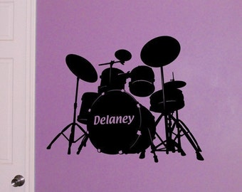 Drum Set, Personalized decal drummer monogram, bedroom sticker