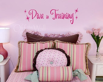 Diva in Training vinyl wall decal, girls bedroom decor, pink decals, diva decal
