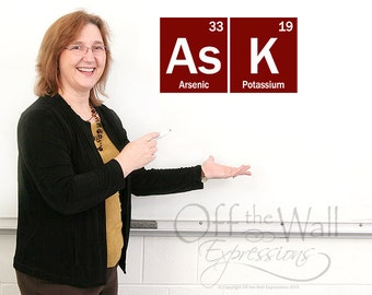 ASK Periodic table decal, Elements vinyl wall decal, decor for science, teacher gifts and classroom decor, geekery gift
