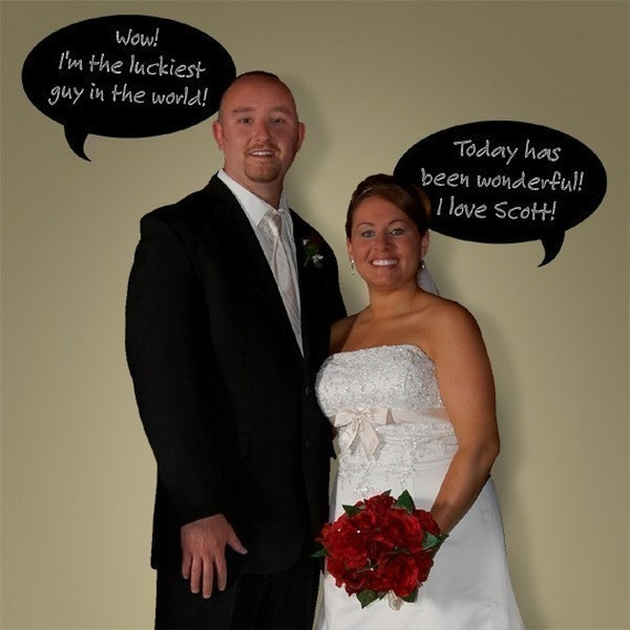 Chalkboard decal - Speech Balloons - wedding photo prop -  message board