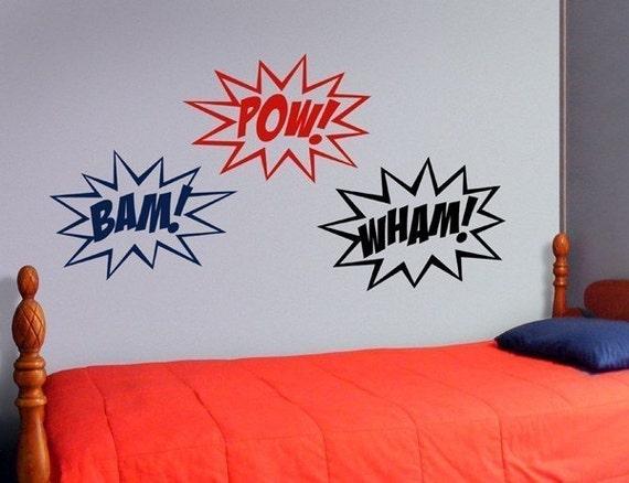 Superhero wall decal, superhero sounds, comic book vinyl decal, bam pow, super hero wall decor, bedroom decor