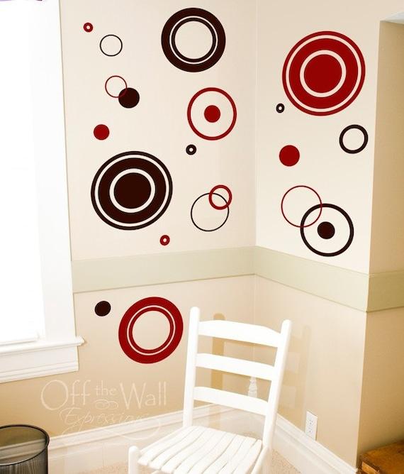 Circles and Rings wall art vinyl, wall decal set, modern stickers, wall art graphics, polka dot pack, wall vinyls