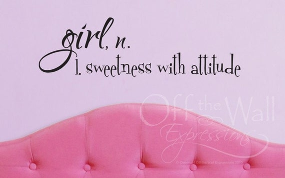 Girl Definition decal - Sweetness with Attitude definition - vinyl wall art decal - girl bedroom decor
