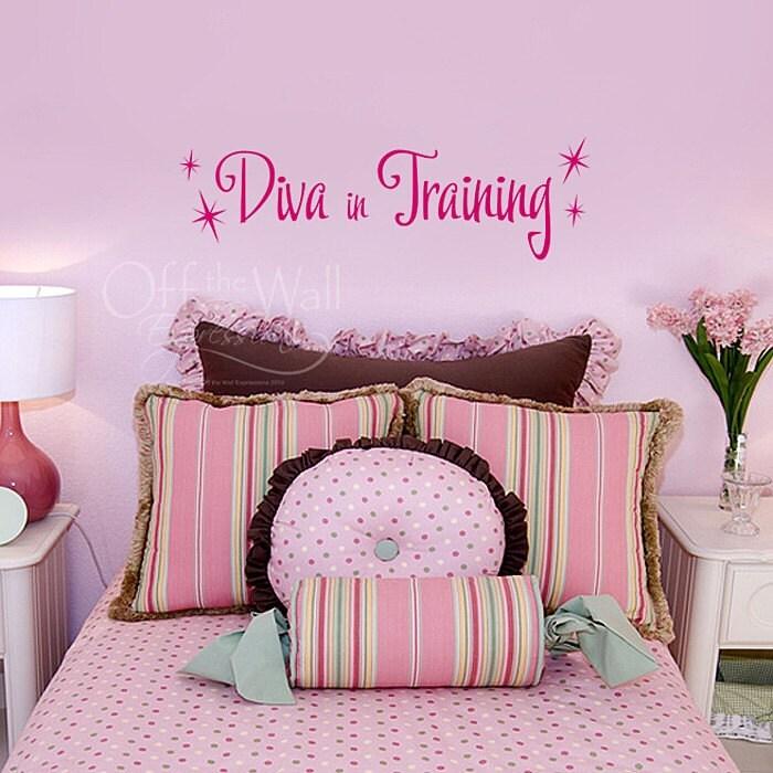Diva in training vinyl wall decal girls bedroom decor pink for Diva bedroom ideas