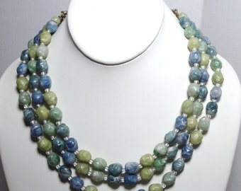CORO Blue n Lime Bead 3 Strand Necklace, 1960s Art Glass Beads, Adjustable Necklace, Artsy, Unusual, Gold Flowered Back