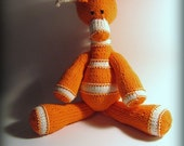 Orange Peel Handknit Stuffed Giraffe - Made to Order
