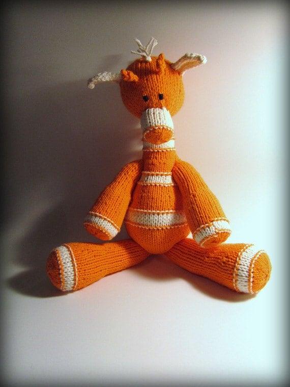 Orange Peel Handknit Stuffed Giraffe - Made to Order