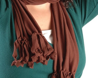 Brown Jersey Stretch Cotton Scarf, Women's Accessories, Women's Fashion Scarf, Long Scarf, Brown Scarf, AnnabelsAccessories, Tied Knot Scarf