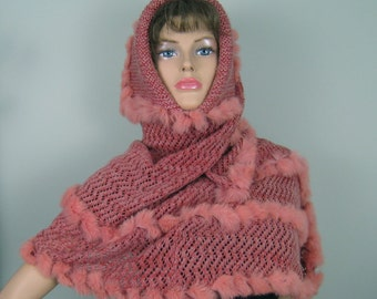 Openwork lacy knit poncho hood