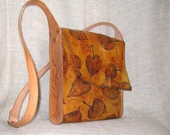 Genuine leather messenger bag, burned tree, leather messenger bag, unisex bag, boxo bag