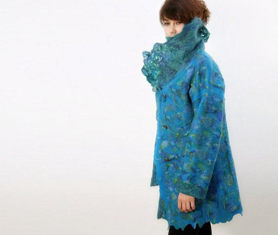 Nuno felted wool coat turquoise multicolored jacket PEACOCK wearable art coat, ready to ship