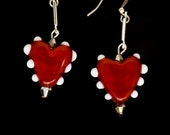Heart Earrings in Red and White, Handmade Glass Jewelry