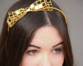 Holiday hair accessories SALE-Gold sequin Bow headband