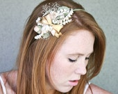 headband of vintage flowers and brass bow