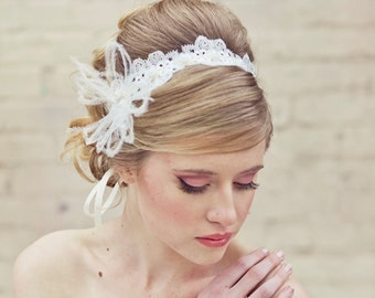 Wedding Lace Tie Headband with Feathers Wedding Head piece Lace Headband