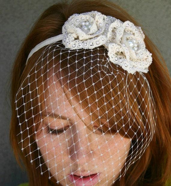Wedding headband, Ivory lace rose headband with birdcage veil