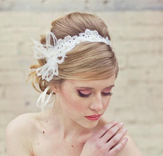 Wedding Lace Tie Headband with Feathers Wedding Head piece Lace Headband