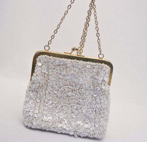 Vintage ivory beaded bag, vintage purse