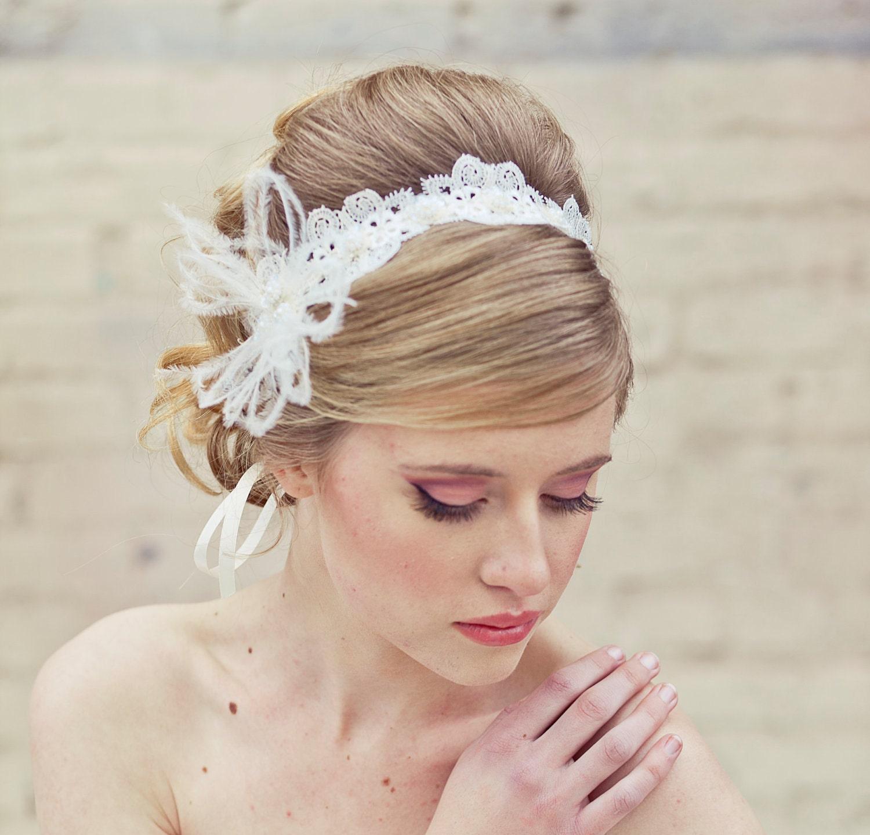 Wedding Lace Tie Headband With Feathers Head Piece