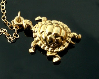 18kt Gold Turtle Necklace on a 14kt Gold Filled Chain