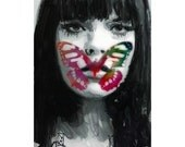 Female Portrait Painting with Butterfly - Print of Mixed Media Watercolor - Limited Edition no 36/100 by Vincenzo Rizzo