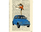 Print illustration Mixed Media Painting poster art Ballet Dancer Fiat 500 Car