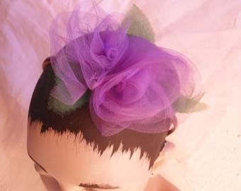 Lavender Tulle Roses Headband, Handmade Rose Lilac Tulle