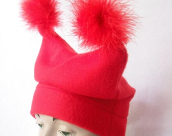 RED Fleece Hat with Feather Poufs