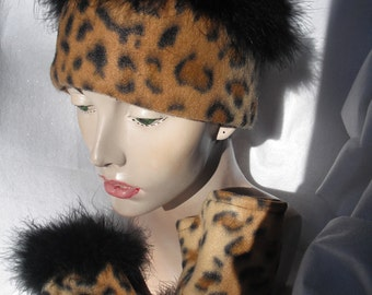 Leopard Earwarmer trimmed in Black Maribou