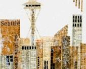 SEATTLE  Art Print Mixed Media Art Collage Encaustic Vintage Papers Space Needle Washington