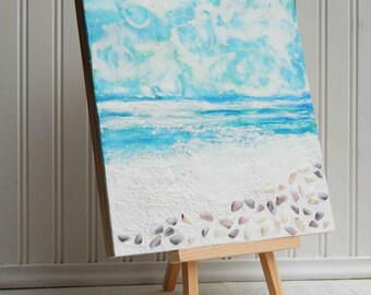 "Summer BEACH Original Mixed Media Encaustic Painting Seashells Ocean Waves Sky Summer  12"" x 12"""