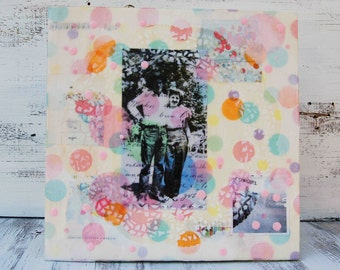 Cowboy LOVE - Sometimes Cowboys like to wear PINK Original Encaustic Mixed Media Painting  Valentine Art