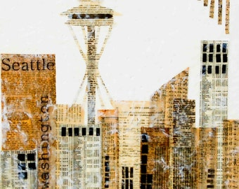 Seattle, Seattle Sky Line Art, Seattle Art, Seattle Love, Space Needle, Washington Art, House Warming Gift, UW, Urban Art, Seattle Print